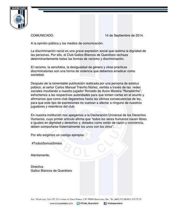 Comunicado Querétaro Ronaldinho
