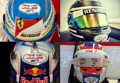 """""""Tous avec Jules"""" dicen los cascos de los pilotos para en Russian Grand Prix"""