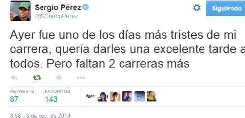 Tweet de Sergio Pérez
